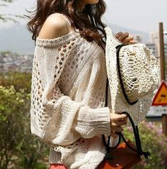 Uptown Off The Shoulder Soho Chic Cream Sweater Darling Crochet Knit 9 106 L | eBay