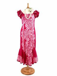 Good Times 941SRTR Frill Puff Mermaid Dress [Monstera / Pink] - Wedding - Hawaiian Dresses | AlohaOutlet SelectShop