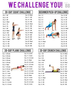 My april Workout Challenges! Squat Challenge, Push Up Challenge, Plank Challenge, Crunch Challenge Fitness Workouts, Fitness Herausforderungen, Sport Fitness, At Home Workouts, Health Fitness, Fitness Goals, Physical Fitness, Health Club, Workout Routines