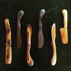 Butter knives, soft cheese spreaders, fancy little sticks... #spoonwizard #whittlin #treen #woodenspoon #rockymountainjuniper #blackwalnut