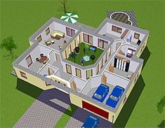 2bhk House Plan, Guest House Plans, Modern House Plans, House Floor Plans, Indoor Courtyard, Courtyard House Plans, Bungalow Haus Design, House Design, Bungalows