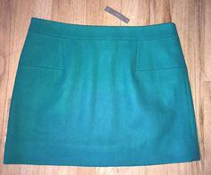 J. Crew NWT Classic Mini Green Felted Wool Skirt Size 16 Straight Pencil $122.50  | eBay