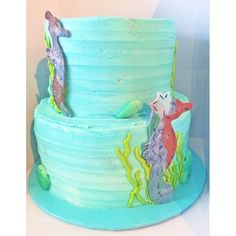 Under the sea themed cake for an anniversary party! Seahorses are always a hit! Seahorses, Anniversary Parties, Tiered Cakes, Under The Sea, Animal, Creative, Party, Desserts, Tailgate Desserts