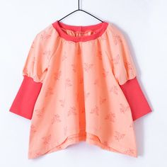 """Girls long sleeve tunic // """"Coral Leaves"""" by Poutapukimo on Etsy"""