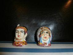 Salt & Pepper Shakers:Vintage Native American Indian Chief | Etsy Salt Pepper Shakers, Salt And Pepper, Indian Ceramics, Thing 1, Indian Head, Vintage Labels, Vintage Wear, Native American Indians, Indiana