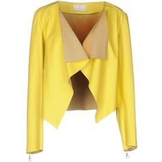 Emanuele Curci Blazer ($570) ❤ liked on Polyvore featuring outerwear, jackets, blazers, yellow, 100 leather jacket, leather sleeve jacket, leather jackets, leather blazers and real leather jackets