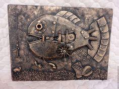 """Животные ручной работы. Ярмарка Мастеров - ручная работа. Купить Панно """"Рыба-буба"""". Handmade. Ключница стимпанк панно Drawing Sketches, Drawings, Surrealism, Paper Art, Sculpting, Diy And Crafts, Steampunk, Mixed Media, Watercolor"""