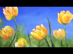 How to Paint Tulips in Acrylic Real Time Free Class - YouTube