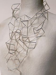 Geometric Jewellery - necklace with complex 3D structure using tubular beads; architectural jewelry design // Mei Lee