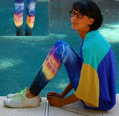 Milkyway Storm Print Leggings, Vintage Color Block Silk Shirt, Thrifted + Neon Lace Sneakers