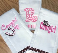 Cowgirl Monogrammed Baby Girl Burp Cloth Set  by LittleTexasBabes, $30.00