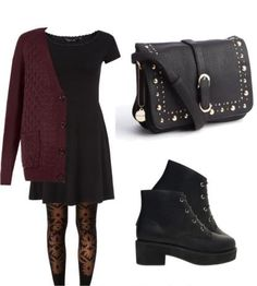Black Dress with Burgundy Sweater and Patterned Tights…