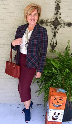 50 IS NOT OLD | PLAID JACKET AND A PENCIL SKIRT