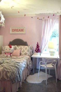 Soft pinks and grays are perfect for a girl's room at any age. Find beautiful bedding and accessories at HomeGoods. Sponsored Pin.