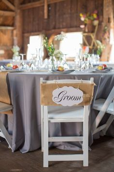 grey tablecloths, white chairs