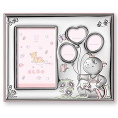 Silver frame with pink details for girly hearts !!