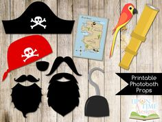 PIRATE Photobooth Props printable - INSTANT DOWNLOAD - Moustache, Beards, Hook, Map, Hat, Parrot, Bandana, Telescope. $3.20, via Etsy.