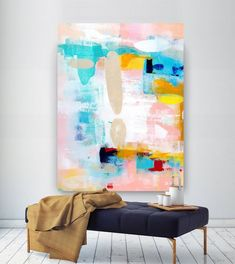 Extra Large Wall Art Original Painting on Canvas Contemporary Wallart Modern Abstract Living Room Wall ArtColorful Abstract Painting Unique Paintings, Original Paintings, Original Art, Texture Painting On Canvas, Canvas Paintings, Large Painting, Abstract Paintings, Hallway Art, Hallway Ideas