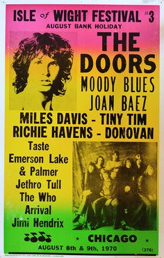 Vintage Music Art Poster Isle Of Wight Festival - The Doors - Moody Blues - Joan Baez 0263 Rock Posters, Band Posters, Musikfestival Poster, Peace Poster, Historia Do Rock, Isle Of Wight Festival, Vintage Concert Posters, Retro Posters, Jethro Tull