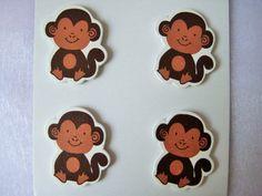 12 pcs Decorative Monkey Wooden Animals Flat by TinyLittleCharms, $2.20
