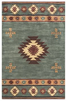 Rizzy Rugs Southwest Area Rug Gray Blue Jagged Shapes X Rectangle