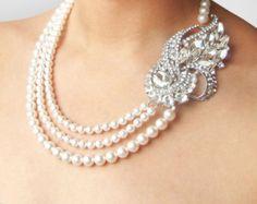 Collar de la boda joyería Art Deco de la boda collar por luxedeluxe