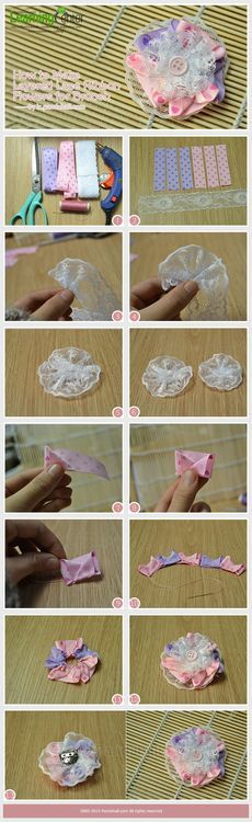 Jewelry Making Tutorial-How to Make Layered Lace Ribbon Flowers for Brooch | PandaHall Beads Jewelry Blog