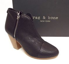 RAG & BONE MARGOT Black Leather Perforated Ankle Boot 39.5