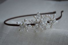 Simple and elegant pearl side tiara by VHbridal on Etsy