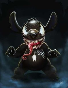 Stitch / Venom is listed (or ranked) 1 on the list 20 Pieces Of Outstanding Disney/Marvel Mashup Fan Art Disney Stitch, Lilo And Stitch, Dark Disney, Disney Art, Disney Marvel, Marvel Art, Marvel Venom, Marvel Comics, Marvel Wallpaper
