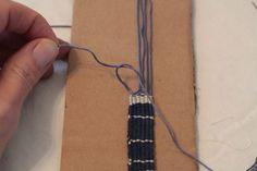Needle weaving with a DIY cardboard loom