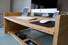 Affordable Height-Adjusting Desks : bamboo desk