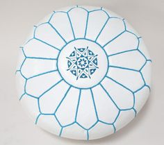 New Genuine Real Moroccan Leather Pouffe, White with Blue Stitchings Ottoman