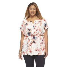 Women's Plus Size Short Sleeve Woven White/Pink Top-Ava & Viv-Target