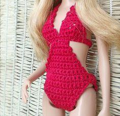 Как связать цельный купальник для Барби. How to connect one-piece swimsuit.
