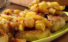 Pork Chops, Golden Apple and Raisin Sauce, Whole Wheat Pasta Mac-n-Cheddar recipe from 30 Minute Meals via Food Network Pork Chops And Applesauce, Apple Pork Chops, Pork Roast, Pork Chop Recipes, Sauce Recipes, Oven Recipes, Turkey Recipes, Meat Recipes, Chicken Recipes