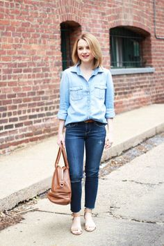 Poor Little It Girl - J.Crew Chambray Shirt and Paige Denim Distressed Jeans