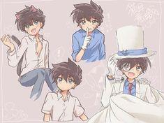 """""""Cute Kaito. #kaitokuroba #kaitokid1412 #kaitokid"""" Ran And Shinichi, Kudo Shinichi, Cute Anime Boy, Anime Guys, Manga Anime, Magic Kaito, Neko, Manga Detective Conan, Magic For Kids"""
