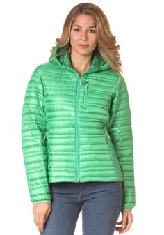 #planetsports PATAGONIA - Womens Ultra Down Hooded Jacket aloe green