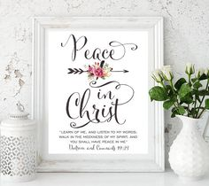 """2018 LDS Young Women Mutual Theme, Peace in Christ, Doctrine and Covenants 19:23 """"Learn of me, and listen to my words; walk in the meekness of my Spirit, and you shall have peace in me"""" - Doctrine and Covenants 19:23 ♥ INSTANT DOWNLOAD – files are available immediately after"""