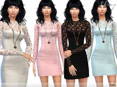 The Sims Resource: Open Knit Mini Dress by Ekinege • Sims 4 Downloads