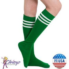 Green tube knee socks made in USA. Complete your outfit with this all purpose sock. Tube Socks, Stripes, Candy, Legs, My Style, Green, How To Make, Outfits, Color