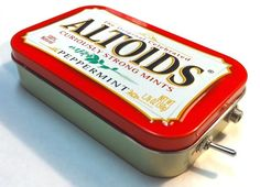 Portable amp made from an Altoids tin. I have one of these, and it can reach a pretty high volume with clear quality. Cool for a house party.