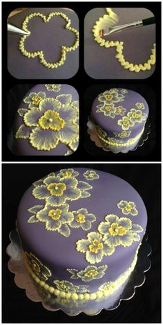 Brush Embroidery Cake Flowers and Template Ideas Brush Embroidery . - Brush Embroidery Cake Flowers and Template Ideas Brush Embroidery Cake Flowers and Te - Creative Cake Decorating, Cake Decorating Techniques, Cake Decorating Tutorials, Creative Cakes, Cookie Decorating, Decorating Cakes, Beginner Cake Decorating, Cake Decorating Frosting, Cake Frosting Designs