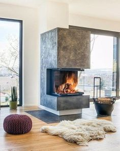 The 70 Best Modern Fireplace Design Ideas - Luxury Interior Modern Fireplace Decor, Home Fireplace, Brick Fireplace, Living Room With Fireplace, Fireplace Design, Fireplace Mantels, Fireplace Ideas, Modern Fireplaces, Scandinavian Fireplace