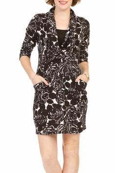 Rose print lurex detailed cowl neck sweater dress with pockets.  Black Rose Dress by Papillon. Clothing - Dresses - Floral Clothing - Dresses - Sweater Canada