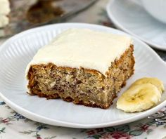 Rich and moist Banana Coconut Cake with Cream Cheese Frosting, perfectly satisfying for mid-morning snack or delicious tea time treat. Banana Coconut Cake, Coconut Muffins, Pineapple Frosting, Pineapple Cake, Cake With Cream Cheese, Cream Cheese Frosting, Round Cake Pans, Dessert Bread, Sweet Bread