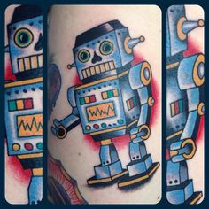 Classic American style tattoo of a robot.