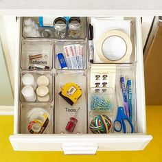 Turn your junk drawer in to an organized space! Learn how here: http://www.bhg.com/kitchen/storage/organization/kitchen-storage-solutions/?socsrc=bhgpin010213JunkDrawer