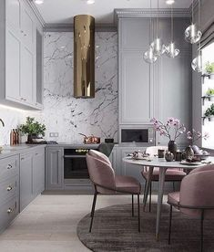 Home Interior Simple Luxe Glam style kitchen and dining room interior design with marble backsplash and crystal pendant lights.Home Interior Simple Luxe Glam style kitchen and dining room interior design with marble backsplash and crystal pendant lights Room Interior Design, Dining Room Design, Kitchen Interior, Pantry Interior, Apartment Interior, Apartment Kitchen, Apartment Living, Dream Apartment, Gray Interior